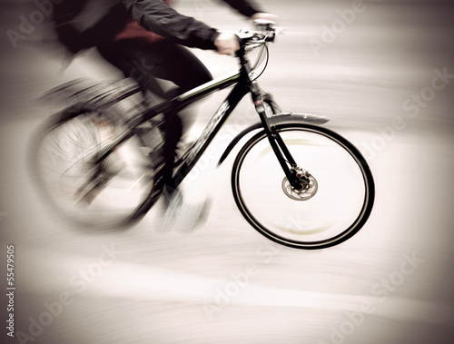 cyclist in blurred motion