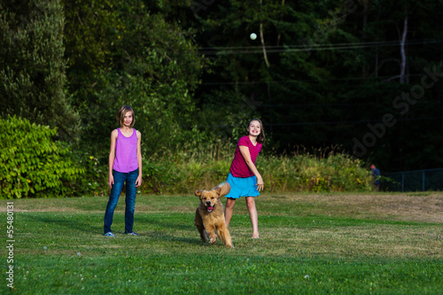child throwing a ball for a dog