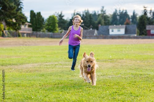 Dog racing girl