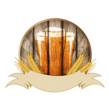 Oktoberfest label isolated on white, illustration.