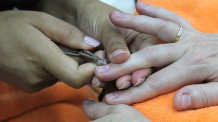 Nails Being Cleaned During Manicure
