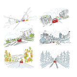 Cars on city road, set of hand drawn illustrations for your