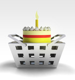 birthday cake product as trade merchandise poster