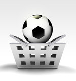 football ball as trade merchandise poster