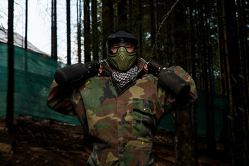 Paintball player preparing for battle