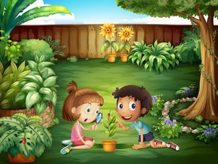 Two adorable kids studying the ladybug at the yard