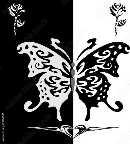 white and Black butterfly line art with rose