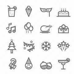 party symbol line icon set