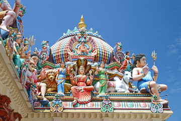 Closeup Of Hindu Gods Statues