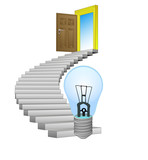 stairway path leading to technological invention vector poster