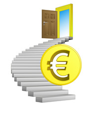 direction leading to business life with euro coin vector