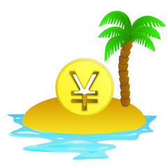 lonely tropical island with yuan coin concept vector