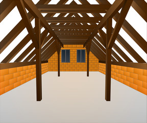 house cock loft under construction vector