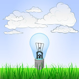 grassy landscape with invention ideas and sky vector poster
