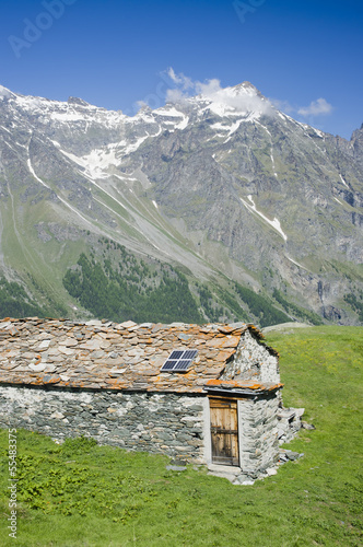 house of stone in Aosta valley Italy Alps