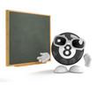 8 ball teaches at the blackboard