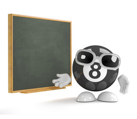 8 ball teaches at the blackboard