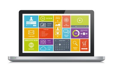 Metallic laptop with modern UI