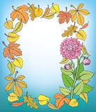 Vector autumn frame. Background of fallen leaves around dahlias