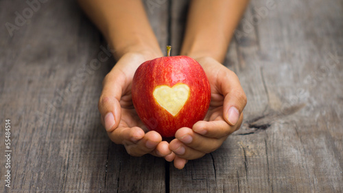 Red Apple with engraved heart
