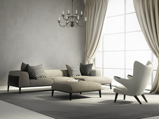 Provence style interior design living room with armchair