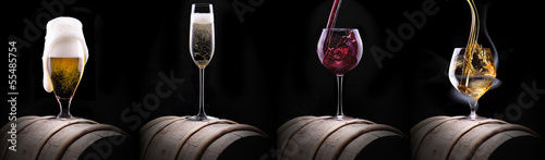 alcohol drinks set isolated on a black - 55485754
