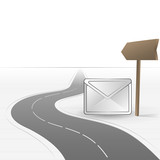 road leading to post with message vector poster