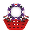 red basket shopping with poker chip vector