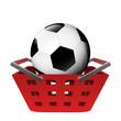 red basket shopping with football ball vector