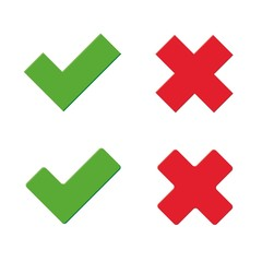 Green tick and red x