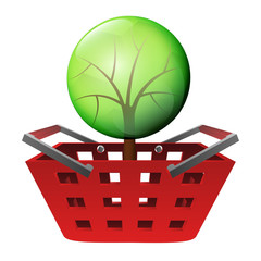 red basket shopping with green tree vector