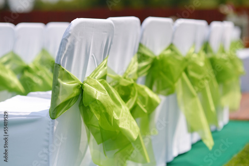 Wedding interior with row of chairs