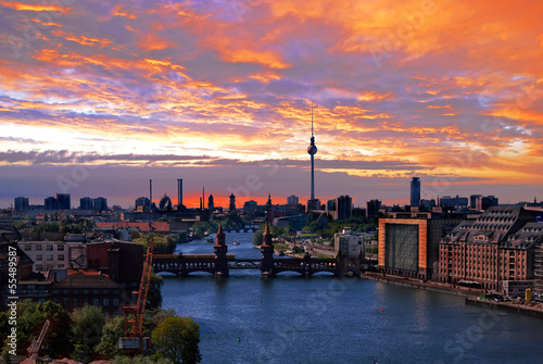 canvas print picture berlin spree skyline