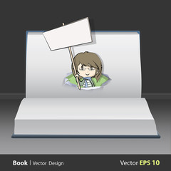 Girl with placard on book.