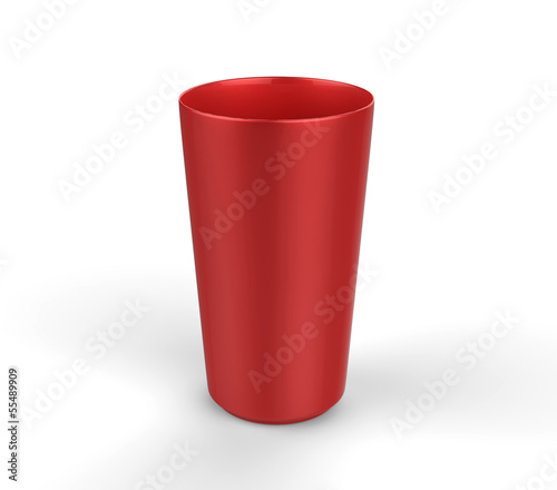 Red plastic glass on a white background