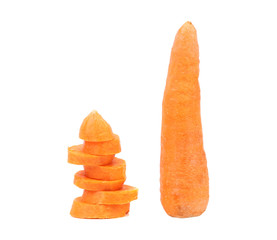 Carrot and stack of slices.