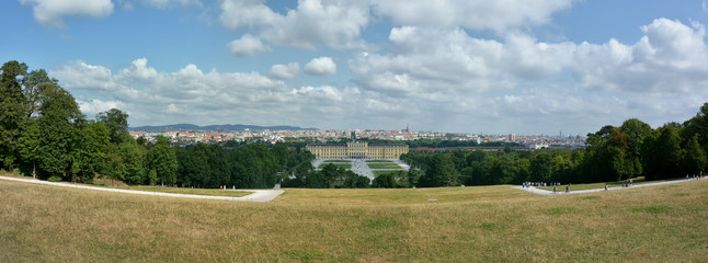 Schonbrunn castle and Vienna panaroma