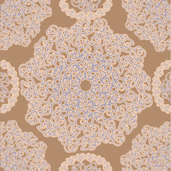 Seamless beige background with openwork circles