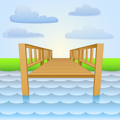 wooden pier over the river with beach and sky vector