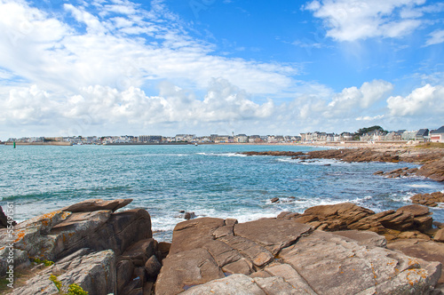 Quiberon city view from the cliffs, France