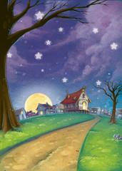 pueblo de noche