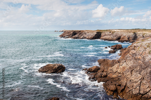 cliffs and ocean on the coast of Quiberon