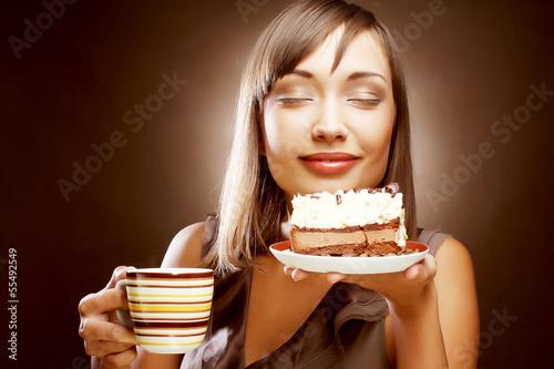 Obraz na płótnie kobieta z kawą i deserem
