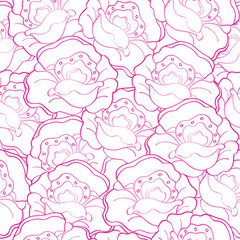 Vector seamless pattern with pink poppies or roses flowers