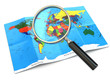 Find locations. Loupe and mapof the world.