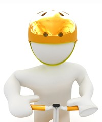 3d man in bicycle helmet