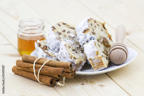 christmas stollen, honey and cinnamon sticks