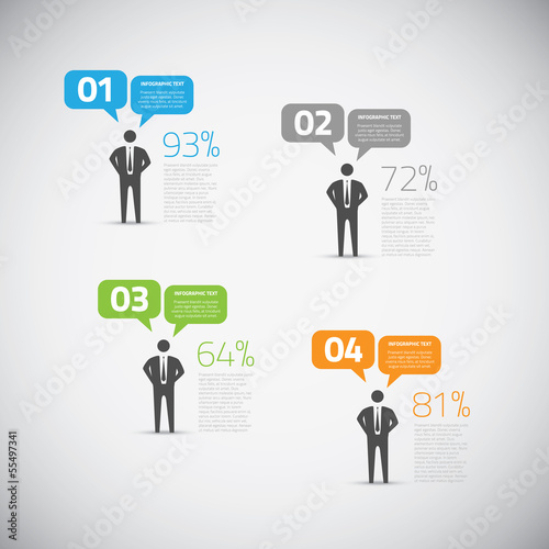 Fresh infographic businessman speech bubble options vector