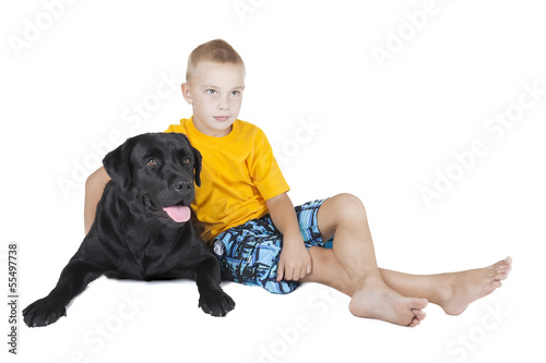 boy and dog (Labrador Retriever)