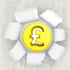 torn paper revelation of golden pound coin vector